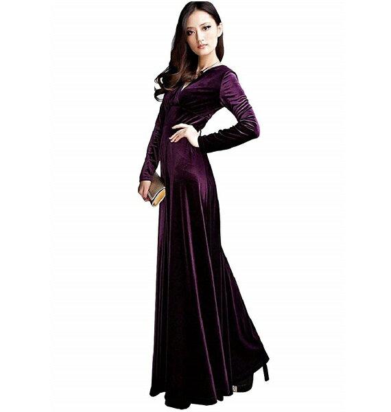 Vネック ベロア ハイウエスト ロング ドレス (紫)マキシ丈 カシュクール ワンピース パーティー
