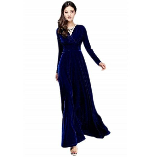 Vネック ベロア ハイウエスト ロング ドレス (青)マキシ丈 カシュクール ワンピース パーティー