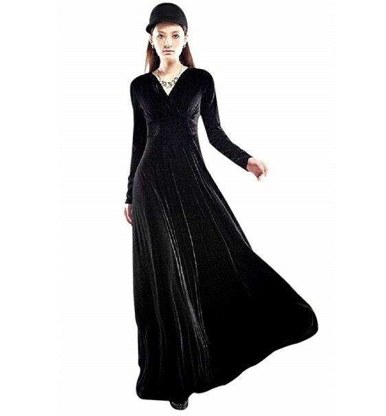 Vネック ベロア ハイウエスト ロング ドレス (黒)マキシ丈 カシュクール ワンピース パーティー