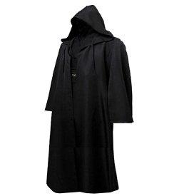 メンズ チュニック フード付き ロング マント (黒) 騎士 アサシン ローブ 仮装 コスプレ