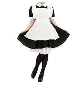 コスプレ 正統派 クラシック メイド服 3点セット (黒) 王室 メイド喫茶