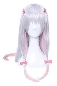 耐熱 ロング ウイッグ エロマンガ先生 和泉紗霧 風 髪飾りヘアピン付き グラデーション シルバー ピンク