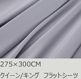R.T. Home - 高級エジプト超長綿(エジプト綿 綿100%)ホテル品質 天然素材 フラットシーツ キング 275×300CM (クイーン/キング/ワイドキング兼用) 500スレッドカウント サテン織り 80番手糸 シルバー グレー 継ぎ目なし特大サイズ (アッパーシーツ) 275*300CM