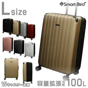 スーツケース 大型 L サイズ 大容量 無料受託手荷物対応 超軽量 容量拡張OK 90L〜100L 8輪 ダブルキャスター TSAロック キャリーケース トランク キャリーバッグ おしゃれ かわいい LL 100リットル