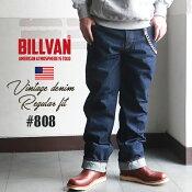 BILLVAN808レギュラーストレートヴィンテージ加工デニムパンツONEWASHビルバンジーンズメンズアメカジ