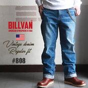 BILLVAN808レギュラーストレートヴィンテージ加工デニムパンツLT/INDIGOビルバンジーンズメンズアメカジ