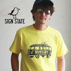 SIGN STATE ヘビーボディ On the Gulls バス プリント Tシャツ サインステート アメカジ サーフ メンズ アメカジ