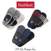 Healthknitワンポイントロゴ入りインステップ3Pソックス3足セットヘルスニットメンズアメカジ