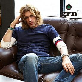 クリックポスト Tシャツ メンズ grn マイ・フィット袖ライン 七分袖Tシャツ メンズ アメカジ