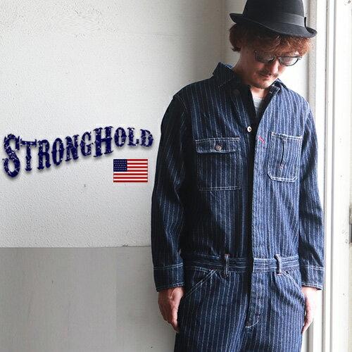 STRONG HOLD ストライプデニム オールインワン ツナギ メンズ アメカジ
