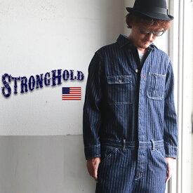 つなぎ STRONG HOLD ストライプデニム オールインワン ツナギ メンズ アメカジ