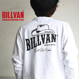 ロンT BILLVAN DENIM FACTORY HAT柄 ガゼット&リブ付き ヘビーロングTシャツ BV-310307LS メンズ アメカジ