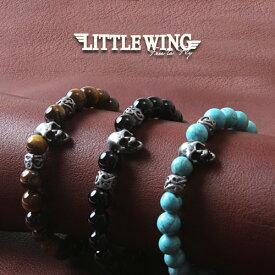 LITTLE WING スカルチャーム×天然石ブレス/LW009/パワーストーン アメカジ