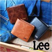 Leeリー刺繍ロゴ中ベラ付きレザー2つ折り財布コンパクトメンズアメカジ