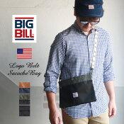 BIGBILLリップストップ生地ワンポイントデザインサコッシュミニバッグ