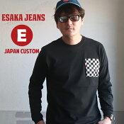 江坂ジーンズチェッカーポケットヘビーロングTシャツ袖リブ付きアメカジビルバン