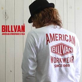 ロンT BILLVAN バックプリント ダイヤロゴ ガゼット&リブ付き ヘビーロングTシャツ BV-290718LS メンズ アメカジ