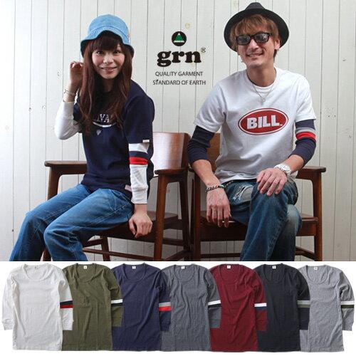 Tシャツ 七分袖 grn マイ・フィット袖ライン 七分袖Tシャツ メンズ アメカジ