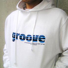 パーカー プルオーバー Groove メンズ レディース パーカ 白 ホワイト ロゴ ミドルウェイト スウェット 【送料無料】