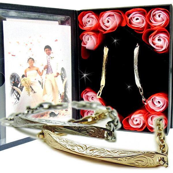 ペアブレスレット ペアハワイアンジュエリー カップル 記念日 誕生日 プレゼント ギフト 花 入浴剤 写真フレーム フラワー