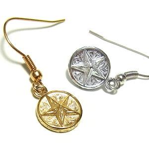 ハワイアンジュエリー ピアス メダル コイン スター レディース プレゼント 片耳 金属アレルギー対応 サージカル ステンレス 星