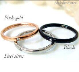 リング 指輪 ブラック ピンクゴールド シルバー ステンレス 石 ジルコニア 細身 刻印 ruejoiesale サージカルステンレス