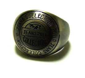 指輪 アンティークゴールド カレッジ風ステンレスリング/ステンレスアクセサリー ブラック ruejoiesale サージカルステンレス