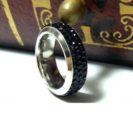 指輪 ステンレスリング ペアリング パヴェ 石 メンズ レディース ザルゴン ZARGON ruejoiesale サージカルステンレス