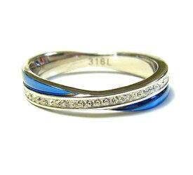 リング 指輪 メンズ ステンレス ブルー 石 ユニセックス レディース ジルコニア 青 ペア ZARGON ruejoiesale サージカルステンレス