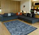 【期間限定価格】【30%OFF】ラグ 中敷き カーペット 絨毯 ベルギー製モケット織り 約200x200cm ブルー 青 紺 クラシックモダ…