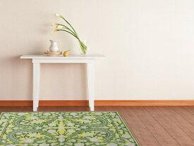 インド製マット&ラグ「チェーンステッチ」 玄関マット 明るいグリーン 表面:毛100% 裏面:綿100% 60×90cm