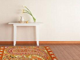 インド製マット&ラグ「チェーンステッチ」 玄関マット オレンジ 表面:毛100% 裏面:綿100% 60×90cm