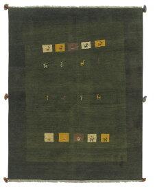 【イラン製】絨毯 ギャッベ ギャベ ペルシャ 約148x192cm 緑 グリーン エントランス リビング 送料無料 新生活 インテリア カーペット マット ラグマット 床暖房 ホットカーペット