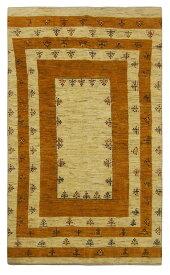 【イラン製】絨毯 ギャッベ ギャベ ペルシャ 約138x228cm ベージュ オレンジ エントランス リビング 送料無料 新生活 インテリア カーペット マット ラグマット 床暖房 ホットカーペット