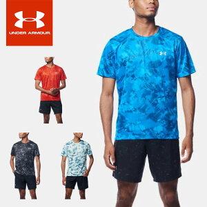 ネコポス アンダーアーマー メンズ Tシャツ 半袖 丸首 UA スピードストライド メンズ プリント ショートスリーブ フィッティド ランニング トレーニング 吸汗速乾 抗菌防臭 1357881