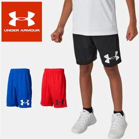 ネコポス アンダーアーマー ジュニア ショート パンツ バスケットボール ハーフパンツ UA ベースライン ロゴ ショーツ ルーズ ヒートギア ボーイズ 男の子 1355463