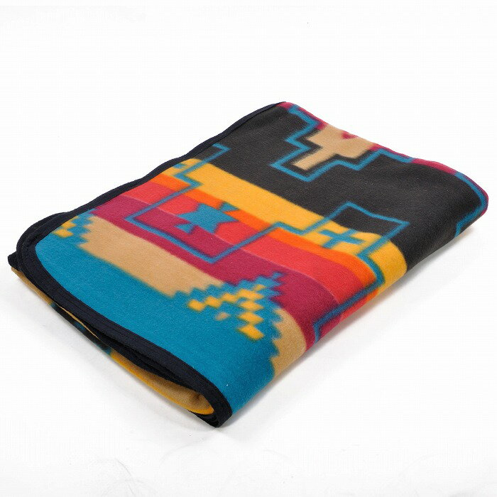 エルパソサドルブランケット (El Paso SADDLEBLANKET) Fleece Lodge Blanket フリースロッジブランケット[約203×152cm]03.BLK/BEIGE