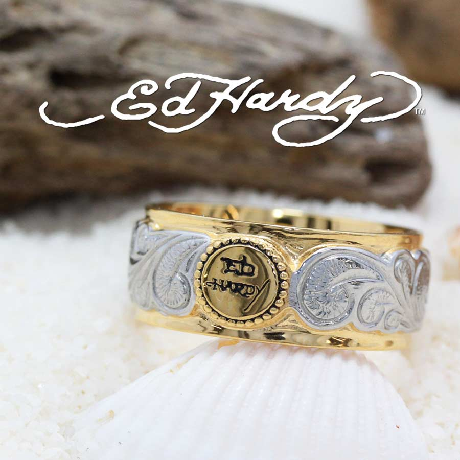 新作 Ed Hardy エドハーディー EDHARDY公式ライセンス ステンレス ハワイアンジュエリー リング 指輪 ペアリング ハワイアンジュエリーペア 波柄 ウェーブ メンズ レディース おしゃれ シンプル スクロール プルメリア 流行 人気 幸運 恋愛運