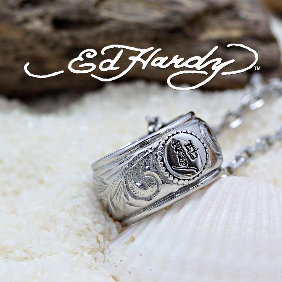 新作 Ed Hardy エドハーディー EDHARDY公式ライセンス ステンレス ハワイアンジュエリー ネックレス ペアペンダント ハワイアンジュエリーペア 波柄 ウェーブ メンズ レディース おしゃれ シンプル スクロール プルメリア 流行 人気 幸運 恋愛運
