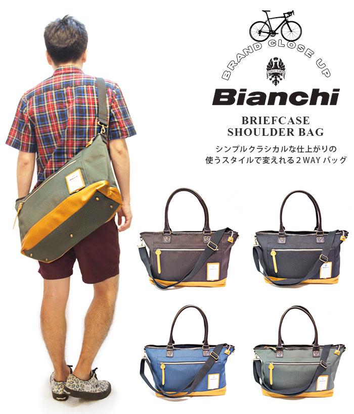 ビアンキ トートバッグ 日本正規品 Bianchi ビアンキ ブリーフケース 【 ショルダーバッグ メンズ レディース 斜めがけ メンズビジネスバッグ おしゃれ 軽量 軽い 大容量 大きめ 撥水性 ポケット たくさん 20代 30代 40代 50代 ファッション ブランド 】