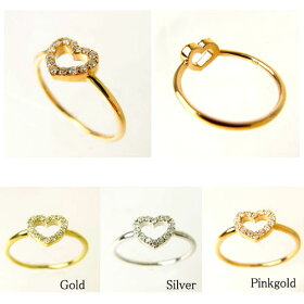 K10ゴールドリング指輪/ミーme/K10オープンハートダイヤモンドリング(ホワイトゴールド)【指輪リングレディースプレゼントおしゃれかわいいゴールドK18K10】