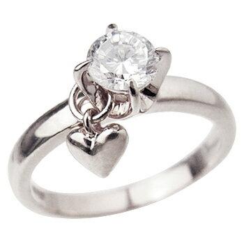ロジウムcoatリング 指輪 / ミー me / 1粒石&ハート ピンキーリング (ロジウムコーティング) 【 指輪 リング レディース おしゃれ かわいい シルバー925 】