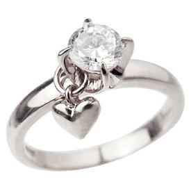 ロジウムcoatリング 指輪 / ミー me / 1粒石&ハート ピンキーリング (ロジウムコーティング) 【 指輪 リング レディース おしゃれ かわいい シルバー925 クリスマス 】