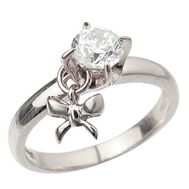 ロジウムcoatリング 指輪 / ミー me / 1粒石&リボン ピンキーリング (ロジウムコーティング) 【 指輪 リング レディース おしゃれ かわいい シルバー925 】
