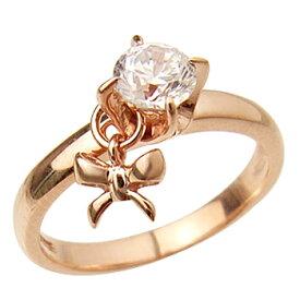 ピンクゴールドcoatリング 指輪 / ミー me / 1粒石&リボン ピンキーリング (ピンクゴールドコーティング) 【 指輪 リング レディース おしゃれ かわいい シルバー925 】