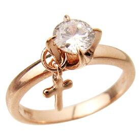 ピンクゴールドcoatリング 指輪 / ミー me / 1粒石&クロス ピンキーリング (ピンクゴールドコーティング) 【 指輪 リング レディース おしゃれ かわいい シルバー925 】