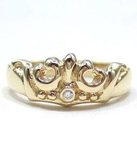 K18ゴールドリング指輪/ロイヤルオーダーROYALORDER/マリークラウンバンドw/ダイヤモンドK18ゴールドリングgoldring指輪プライダルジュエリーメンズレディースおしゃれ