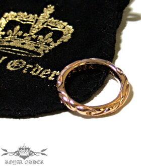 K9ゴールドリング指輪/ロイヤルオーダーROYALORDER/リボンバンドK18ゴールドリング指輪リングメンズリングレディース正規品ゴールドK18K9おしゃれ