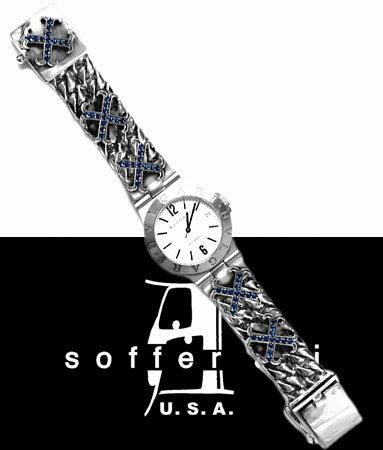 XLクエーカーリンクス O.G.クロス ウォッチバンド w/サファイアズ / ソファーアリ Soffer Ari 【 メンズ ウォッチ レディース ウォッチ ウォッチバンド 腕時計ベルト 正規品 おしゃれ 注クロムハーツではありません 】