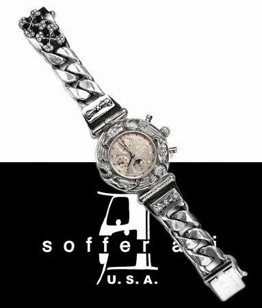 レザーウォッチバンド ダイヤモンド 腕時計ベルト 牛革 本革製 【 メンズ レディース 30代 40代 50代 60代 ファッション USA製 アメリカ 人気 セレブ 高級ブランド 正規品 おしゃれ ハード ロック rock 美しい キレイ お洒落 Soffer Ari 注クロムハーツではありません 】